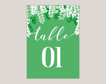 GREENSCAPE- Luscious Green Leaves Wedding Table Numbers, Printed Wedding Set, leaf canopy, summer wedding, Green Leaves, Modern Calligraphy