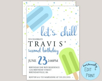 Let's Chill Popsicle Birthday Invitation Template