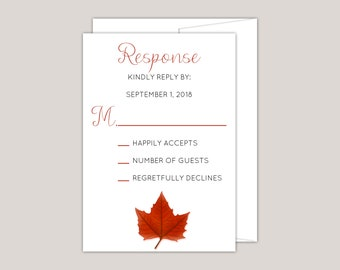 MAPLEARA - Fall Wedding RSVP Card, Red Maple Leaf, Printed Modern RSVP Card, Free Envelopes Included