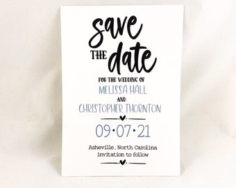 BRAMLEY - Printed Save The Date Cards, Farmhouse Chic, Countryside Weddings with Neutral Colors. Wedding Announcement Card Modern Typography