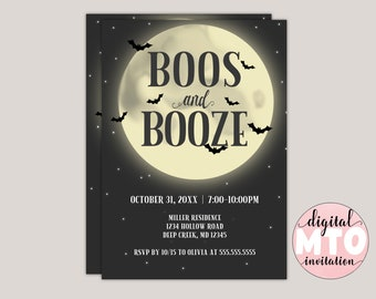 Boos or Booze Full Moon Halloween Party Invitation. Printable Invitation, Digital Invitation, Virtual Party Invitation