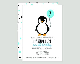 Little Penguin Birthday Party Invitation