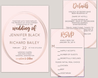 Calaiss - Rose Gold Wedding Suite, Geometric Oval, Blush Wedding Invitation Set, Meal Choice RSVP Card, Printed Modern Invitations