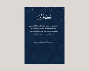 Starryscape - Printed Wedding EnclosureCard, Details Card, Information Card, Starry Night, Stars at Night, Under The Stars Wedding Themes