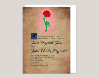 Enchanted Rose - Story Book Wedding Invitation, Fairytale Wedding, Beauty and the Beast Inspired