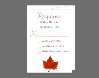 Red Fall Maple Leaf Wedding RSVP Card