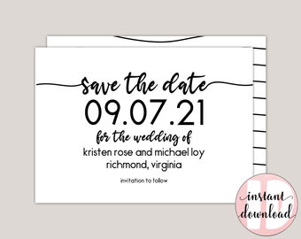 MALIA - Modern Calligraphy Save The Date Template, Printable PDF, Minimalist, Wedding Announcement, Engagement Announcement, PDF Template