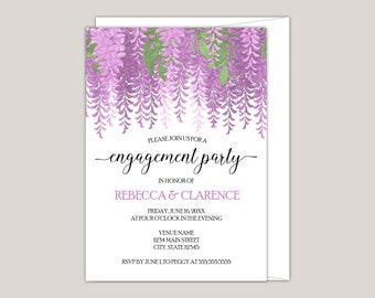 Melisandre - Watercolor Wisteria Engagement Party Invitation, Custom Made for You, Printed Invitation, Perfect for Summer Engagements