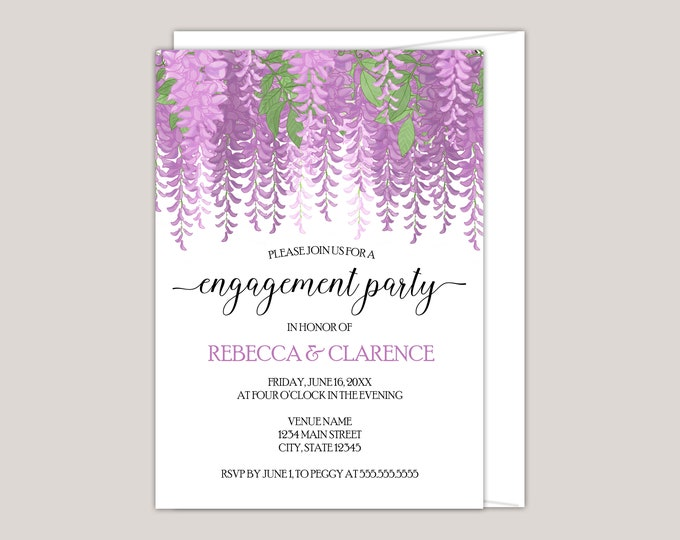 Featured listing image: Melisandre - Watercolor Wisteria Engagement Party Invitation, Custom Made for You, Printed Invitation, Perfect for Summer Engagements