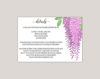 Melisandre - Wisteria Floral Wedding Enclosure Card, Information Card, Reception Card, Custom Made, Printed Enclosure Card