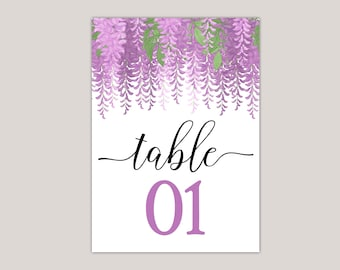 MELISANDRE - Printed Table Numbers, Summer Wedding, Hand-Drawn Flowers, Perfect for Spring and Summer Garden Weddings