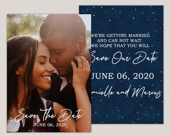 Starryscape - Printed Save The Date Photo Annoucement Card, Starry Night, Stars at Night, Under The Stars Wedding Themes