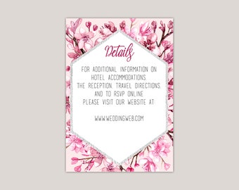 Cherry Blossom Wedding Enclosure Card