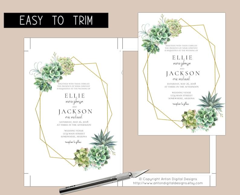 Stylish Succulent Editable Wedding Invitations