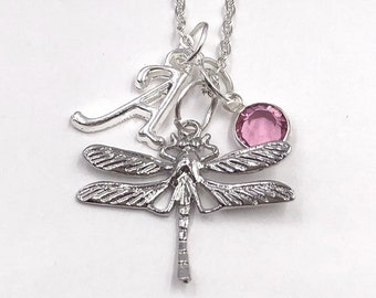 Personalized Silver Dragonfly Necklace Jewelry Gifts for Women and Girls, Includes Sterling Silver Birthstone and Letter Style Charm