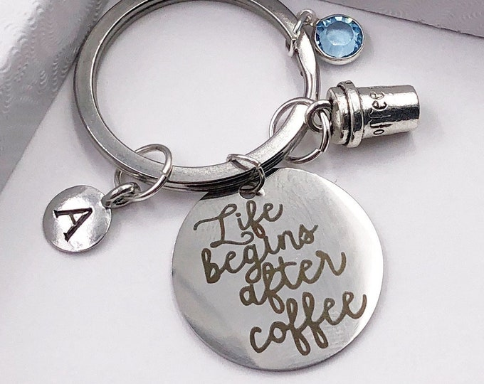 Personalized Silver Coffee Cup Keychain, Great Gift Idea for Women and Girls, Sterling Silver Birthstone and Initial Style Included