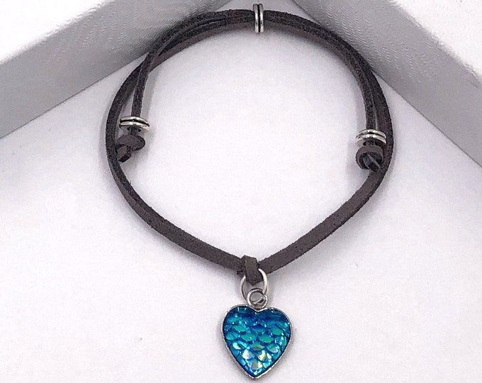 Blue Mermaid Heart Scales Cord Bracelet or Anklet, Great Jewelry Gift Idea for Women and Girls, Available in 20 Different Vibrant Colors.
