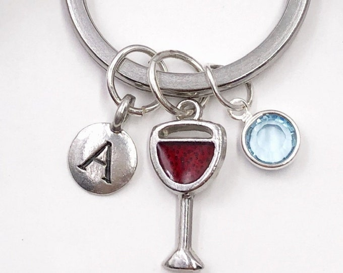 Personalized Red Wine Glass Keychain Gifts for Women, Includes Sterling Silver Birthstone and Your Choice of Letter Style
