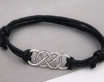 Silver or Bronze Double Infinity Bracelet Jewelry for Men, Great Gift for Husband or Boyfriend, Includes Black or Brown Faux Leather Cord