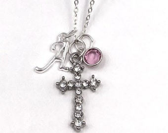 Personalized Silver Rhinestone Cross Necklace Jewelry Gifts for Women and Girls, Includes Sterling Silver Birthstone and Letter Style Charm
