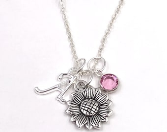 Personalized Silver Sunflower Necklace Gifts for Women and Girls, Sterling Silver Birthstone and Choice of Letter Style Charm Included