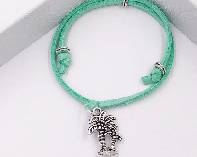 Palm Tree Cord Bracelet or Anklet, Great Jewelry Gift Idea for Women and Girls, Available in 20 Different Vibrant Colors.