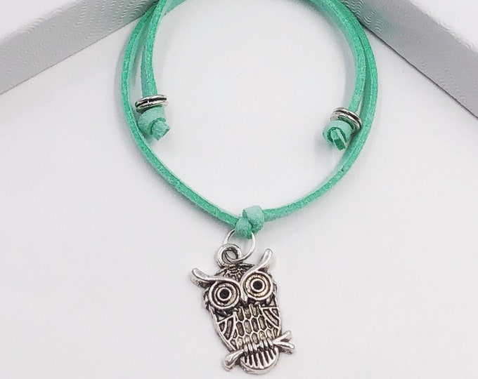 Wise Owl Cord Bracelet or Anklet, Great Jewelry Gift Idea for Women and Girls, Available in 20 Different Vibrant Colors.