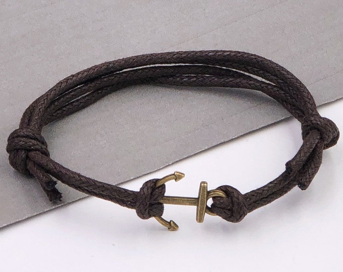 Anchor Bracelet, Bronze or Silver Fisherman Jewelry Gifts for Men and Boys, Faux Leather Cord Bracelet With Choice of Colors, Boyfriend Gift