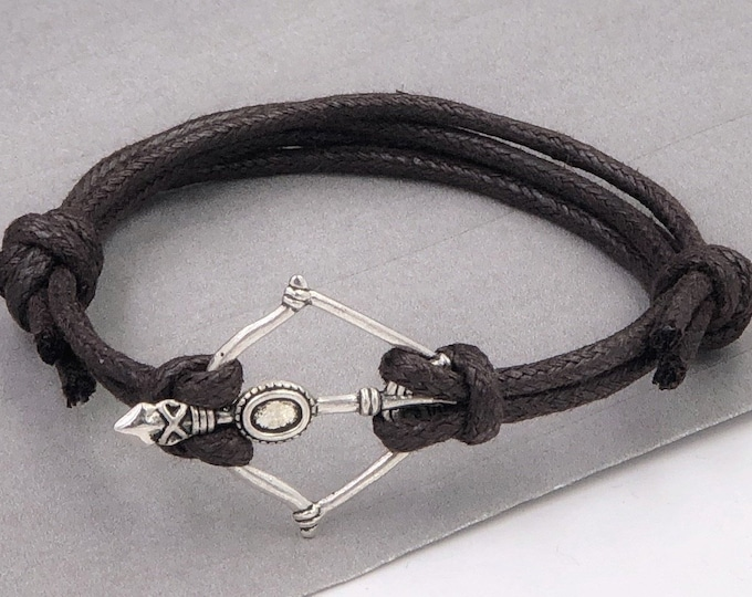 Silver or Bronze Arrow Bracelet Jewelry for Men, Great Gift for Boyfriend or Husband, Includes Your Choice of Faux Leather Cord Color