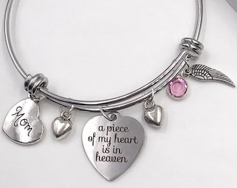 Personalized Memorial Bracelet Gifts, Your Choice of Mom, Grandma and Other Family Heart Charms, Includes Sterling Silver Birthstone