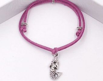 Mermaid Cord Bracelet or Anklet, Great Jewelry Gift Idea for Women and Girls, Available in 20 Different Vibrant Colors.
