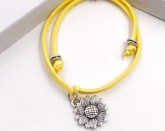 Sunflower Summer Cord Bracelet or Anklet, Great Jewelry Gift Idea for Women and Girls, Available in 20 Different Vibrant Colors.