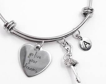 Ballerina Bracelet, Personalized Silver Jewelry Gifts for Girls, Includes Your Choice of Letter Style Charm! Birthstones Available.