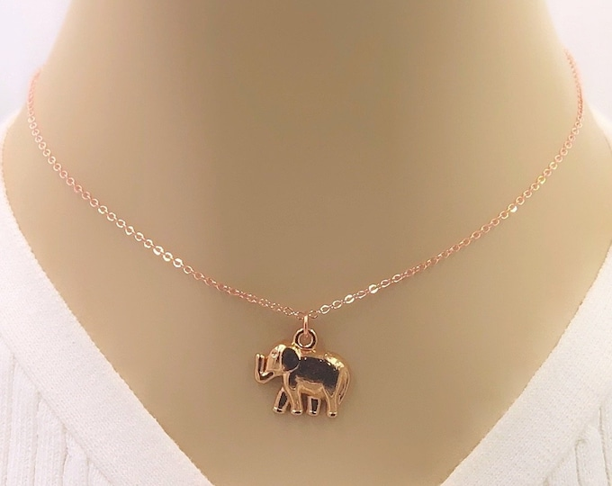 Rose Gold Elephant Necklace Jewelry Gifts for Women and Girls, Includes Your Choice of Sterling Silver, Gold, or Rose Gold Filled Chain