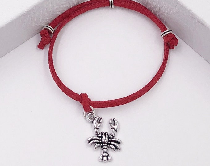 Lobster Crab Cord Bracelet or Anklet, Great Jewelry Gift Idea for Women and Girls, Available in 20 Different Vibrant Colors.