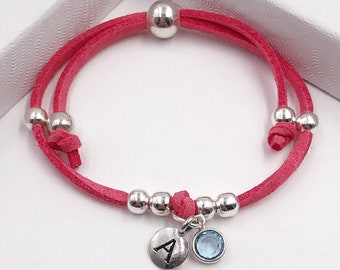 Personalized Bracelet or Anklet Gifts for Women or Girls, Includes Sterling Silver Birthstone and Choice of Letter Style, 20 Vibrant Colors!