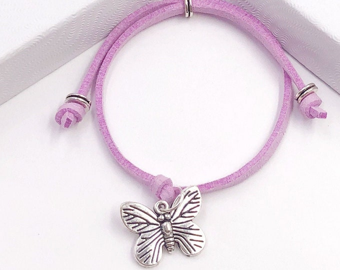 Butterfly Summer Cord Bracelet or Anklet, Great Jewelry Gift Idea for Women and Girls, Available in 20 Different Vibrant Colors.