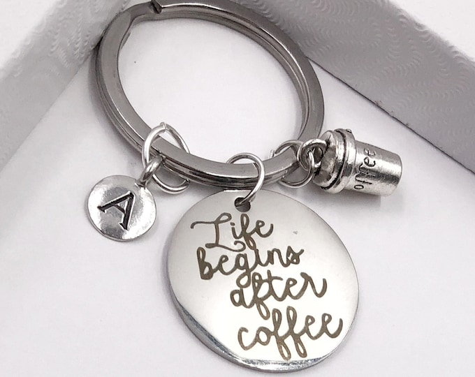 Personalized Keychain Gifts, Silver Life Begins After Coffee Cup Keychain, Includes Letter Charm,Available With Sterling Silver Birthstone