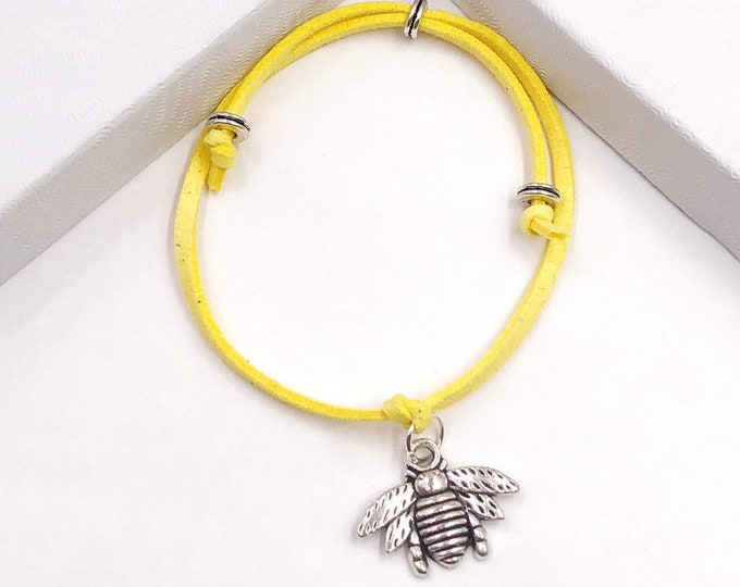 Bumblebee Summer Cord Bracelet or Anklet, Great Jewelry Gift Idea for Women and Girls, Available in 20 Different Vibrant Colors.