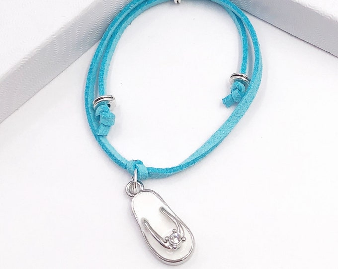 Flip flop Summer Cord Bracelet or Anklet, Great Jewelry Gift Idea for Women and Girls, Available in 20 Different Vibrant Colors.