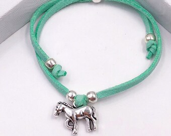 Horse Cord Bracelet or Anklet, Great Jewelry Gift Idea for Women and Girls, Available in 20 Different Vibrant Colors.