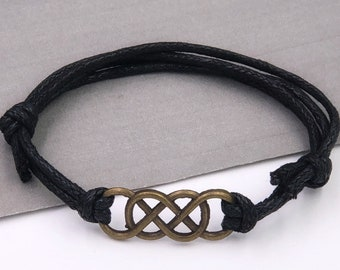 Silver or Bronze Double Infinity bracelet Jewelry for Men, Great Gift for Husband, Teen, or Boyfriend, Includes Your Choice of Cord Colors