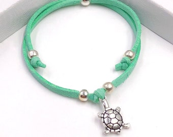 Sea Turtle Cord Bracelet or Anklet, Great Jewelry Gift Idea for Women and Girls, Available in 20 Different Vibrant Colors.