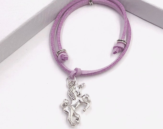 Unicorn Cord Bracelet or Anklet, Great Jewelry Gift Idea for Women and Girls, Available in 20 Different Vibrant Colors.