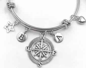 Compass Friendship Bracelet, Personalized Silver Jewelry Gifts for Women and Girls, Your Choice of Letter Style Charm!