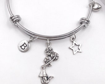 Cheerleader Bracelet, Personalized Silver Jewelry Gifts for Girls, Includes Your Choice of Letter Style Charm! Birthstones Available.