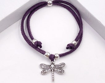 Dragonfly Cord Bracelet or Anklet, Great Jewelry Gift Idea for Women and Girls, Available in 20 Different Vibrant Colors.
