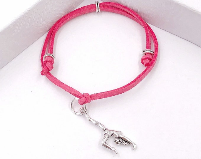 Silver Gymnastics Cord Bracelet or Anklet, Great Jewelry Gift Idea for Team or Coach, Available in 20 Different Vibrant Colors.