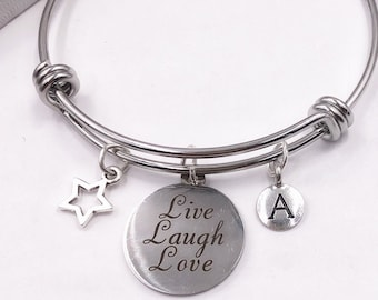 Inspirational Live Laugh Love Bracelet, Personalized Silver Jewelry Gifts for Women and Girls, Includes Your Choice of Letter Style Charm!
