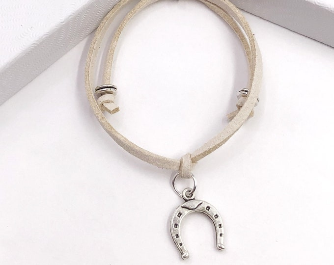 Horseshoe Cord Bracelet or Anklet, Great Jewelry Gift Idea for Women and Girls, Available in 20 Different Vibrant Colors.